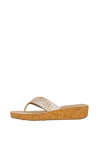 Gold & Silver Leather Flats by Crimzon