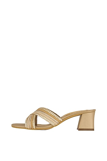 Beige & Gold Faux Leather Mules by Crimzon