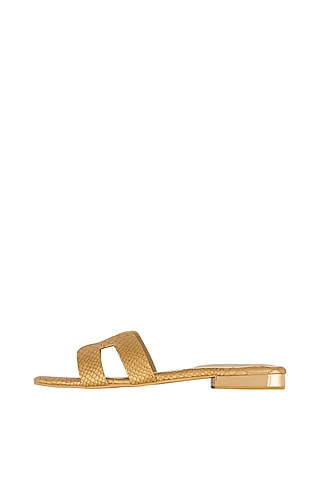 Gold Faux Leather Flats by Crimzon