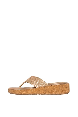 Rose Gold Faux Leather Flats by Crimzon