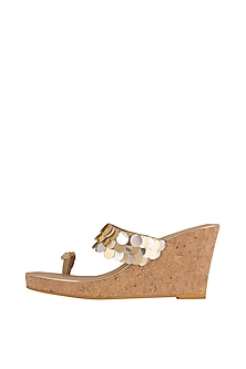 Beige Faux Leather Wedges With 3.5 Inches Heels by Crimzon