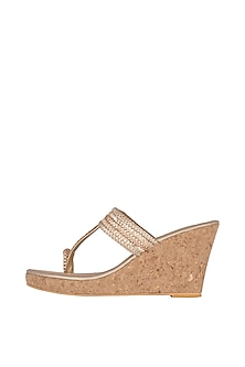 Rose Gold Faux Leather Wedges by Crimzon