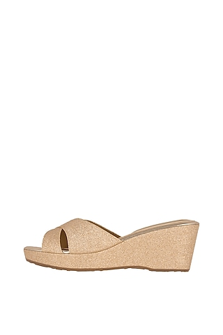 Rose Gold Faux Leather Wedges With 2.5 Inches Heels by Crimzon