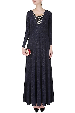 """Navy blue and black """"Lady Love"""" gown by Carousel By Simran Arya"""