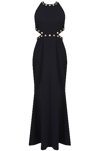 Navy blue rivet halter neck gown by Carousel By Simran Arya