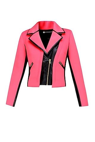 Pink and black Biker babe milano jacket by Carousel By Simran Arya