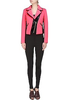 Pink and black Biker babe milano jacket by Carousel By Simran Arya