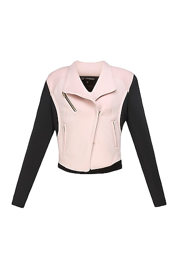Baby pink and black Biker babe milano jacket by Carousel By Simran Arya