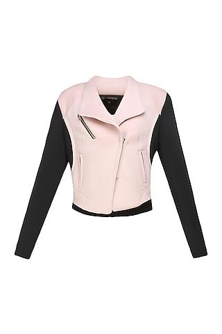 Baby pink and black Biker babe milano jacket by Carousel By Simran Arya