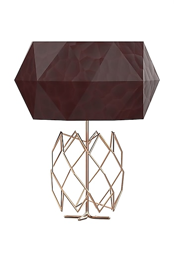 Golden Estetico Metal & Leather Table Lamp  by CLEARTE