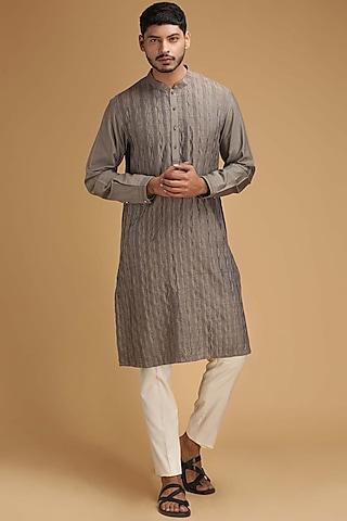 Grey Pintux Kurta Set by Chatenya Mittal