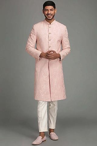 Light Pink Embroidered Sherwani Set by Chatenya Mittal