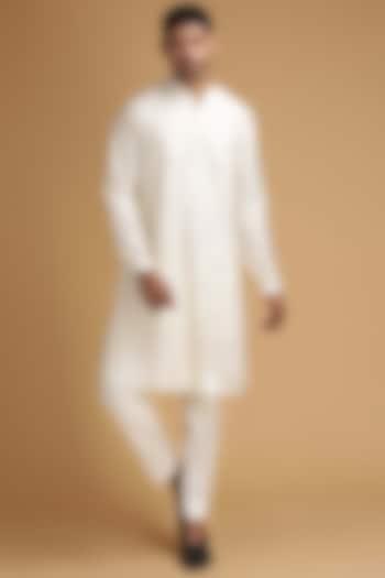 White Mirror Work Kurta Set by Chatenya Mittal