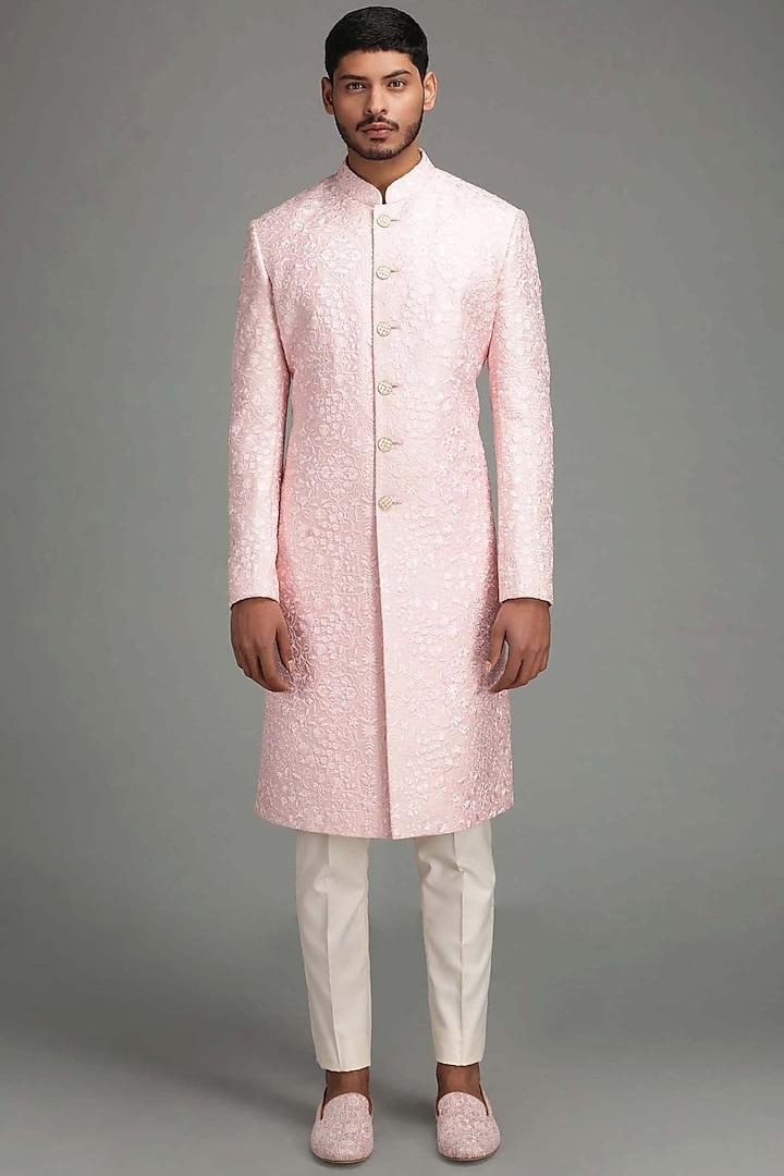 Pink Embroidered Sherwani Set by Chatenya Mittal