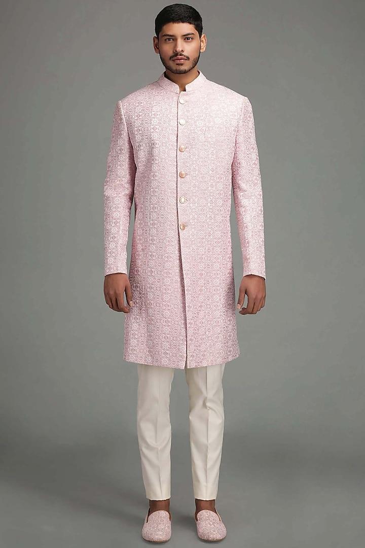 Light Pink Geometric Embroidered Sherwani Set by Chatenya Mittal