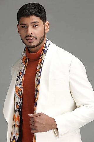 White Self Textured Blazer by Chatenya Mittal
