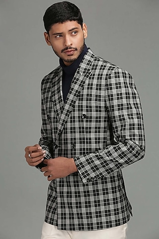 White & Black Double Breasted Blazer by Chatenya Mittal