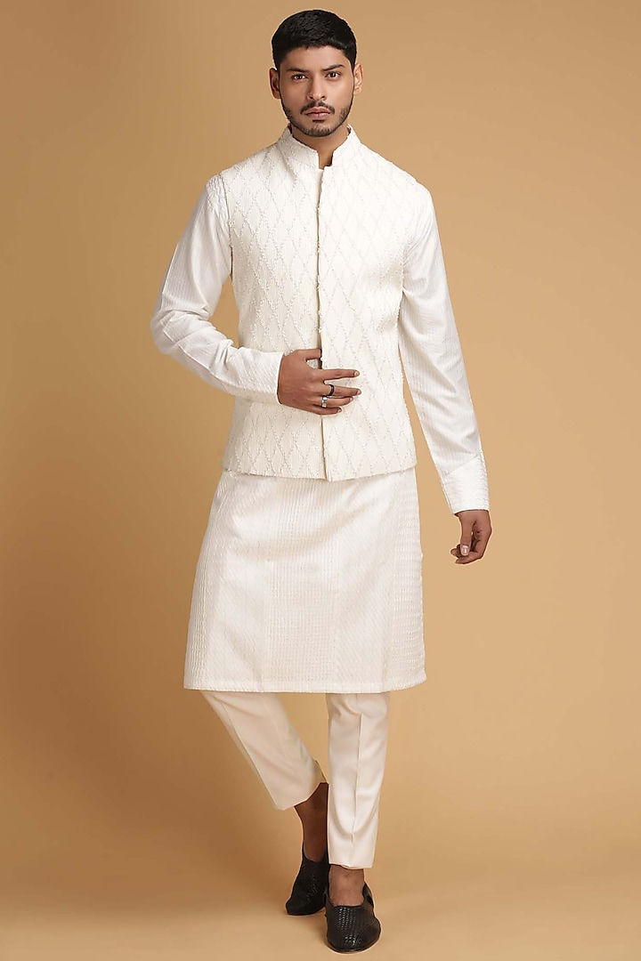 Off White Embroidered Nehru Jacket Set by Chatenya Mittal