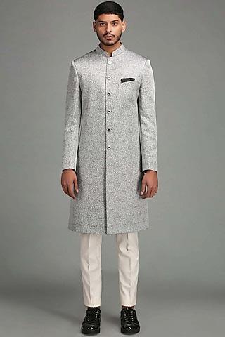 Grey Achkan Jacket Set by Chatenya Mittal
