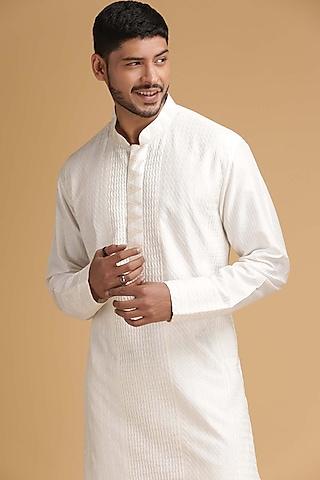 Off White Pintux Kurta Set by Chatenya Mittal