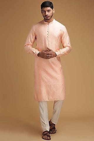 Peach Cotton Silk Kurta Set by Chatenya Mittal