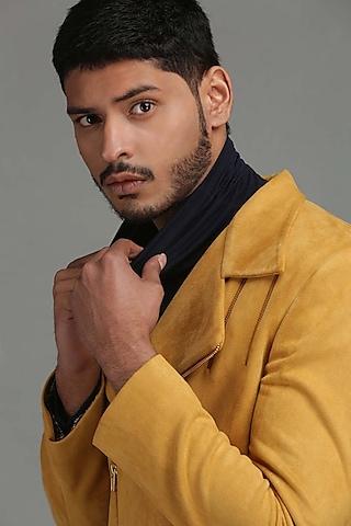 Light Mustard Yellow Bomber Jacket by Chatenya Mittal