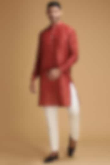 Red Leaf Printed Kurta Set by Chatenya Mittal
