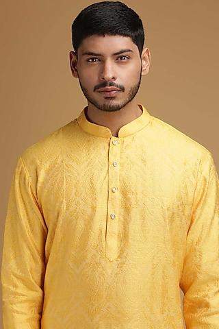 Yellow Self Designed Kurta Set by Chatenya Mittal