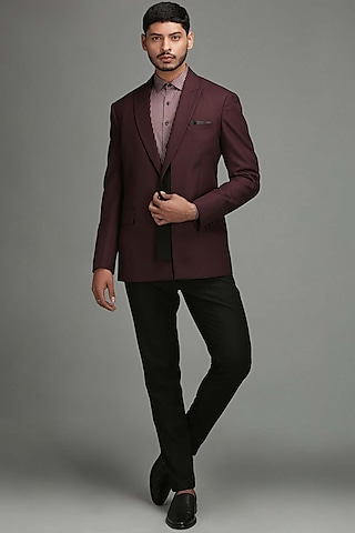 Red & Black Single Breasted Blazer by Chatenya Mittal