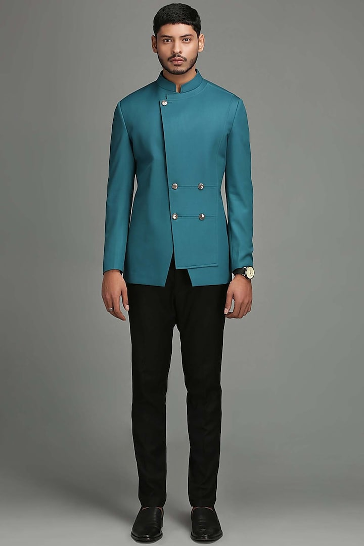 Blue Angrakha Bandhgala Jacket by Chatenya Mittal