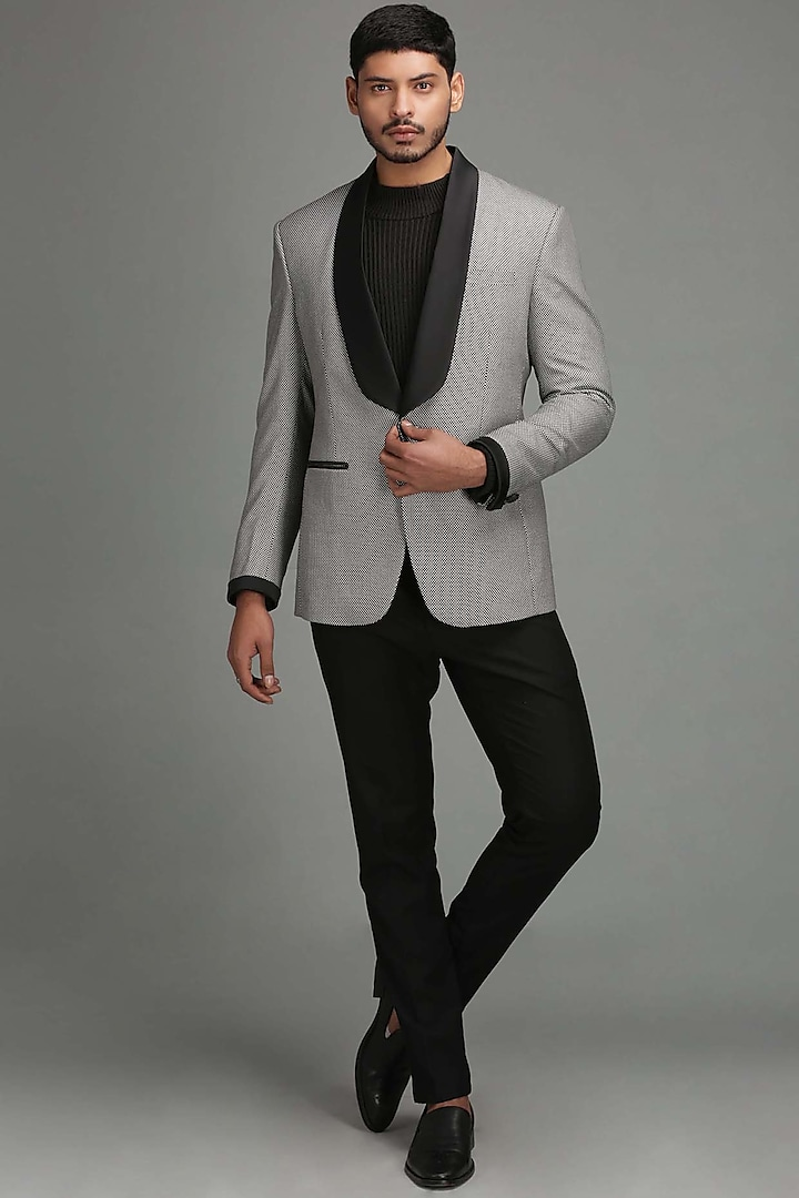 Black & White Tuxedo Blazer With Shawl Lapel by Chatenya Mittal