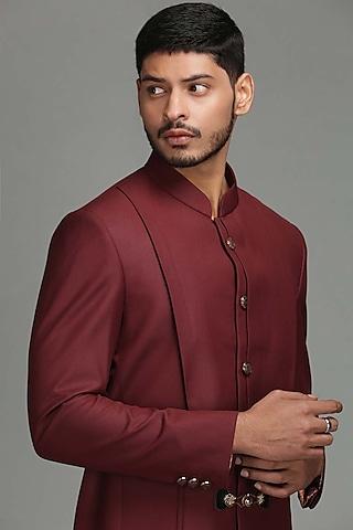 Maroon Bandhgala Jacket by Chatenya Mittal