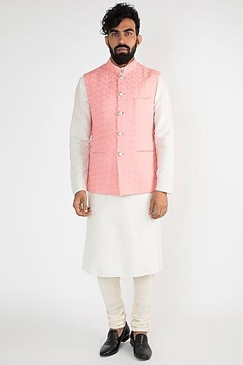 Pink Embroidered Nehru Jacket by Chatenya Mittal