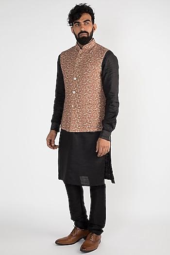 Brown Floral Printed Nehru Jacket by Chatenya Mittal