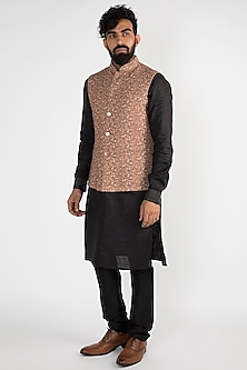 Brown Floral Printed Nehru Jacket by Chatenya Mittal