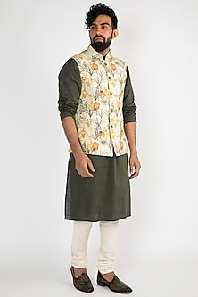 Yellow Cream Nehru Jacket by Chatenya Mittal