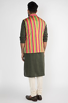 Yellow Striped Printed Nehru Jacket by Chatenya Mittal