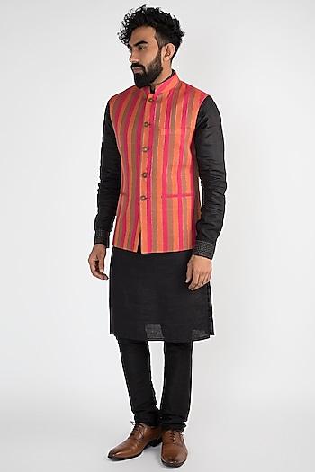 Pink Striped Printed Nehru Jacket by Chatenya Mittal