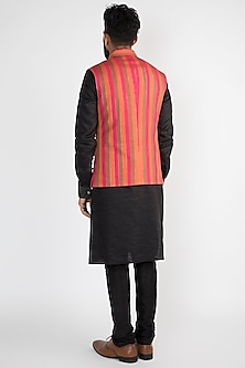 Pink Striped Printed Nehru Jacket by Chatenya Mittal
