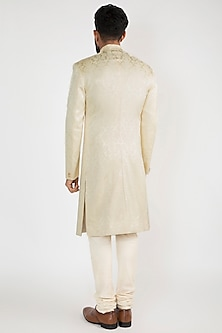 Ivory Achkan Jacket With Pants by Chatenya Mittal