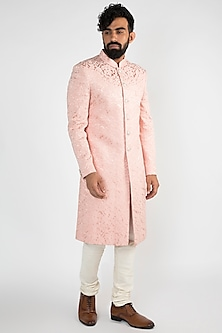 Pink Achkan Jacket With White Pants by Chatenya Mittal