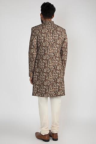 Black Floral Printed Achkan Jacket With White Pants by Chatenya Mittal