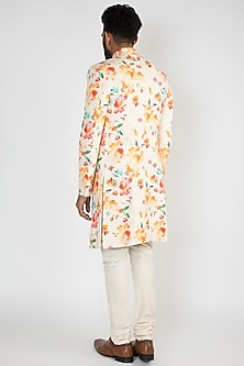 Multi Colored Floral Achkan Jacket With White Pants by Chatenya Mittal