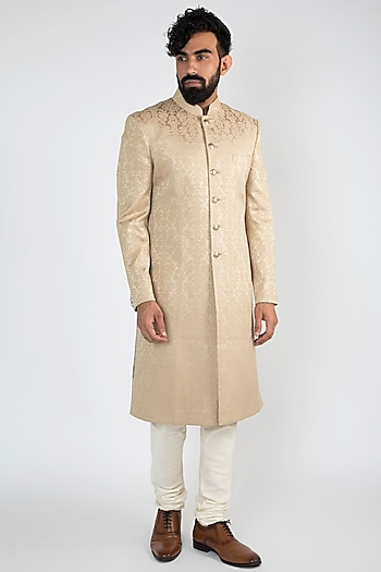 Beige Achkan Jacket With White Pants by Chatenya Mittal