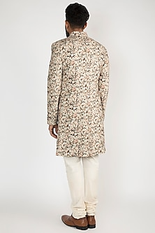 Peach Floral Printed Achkan Jacket With White Pants by Chatenya Mittal