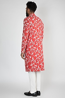 Red Floral Printed Achkan Jacket WIth White Pants by Chatenya Mittal