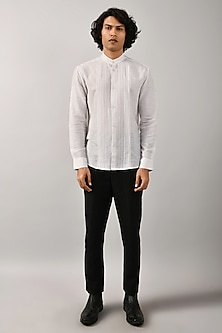 Ivory Panelled Shirt by Countrymade