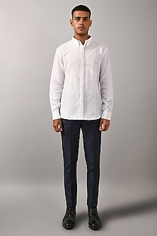 Ivory Shirt With Stitch Detailing by Countrymade
