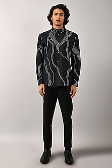 Black Printed Constellation Shirt by Countrymade