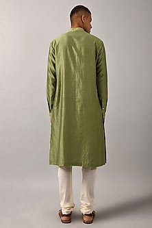 Sage Green Hand Embroidered Kurta Set by Countrymade